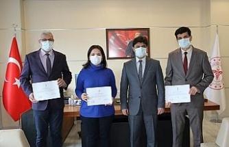 Sinop Plazma Bağışçı Çağrı ve Koordinasyon Merkezi ekibine teşekkür belgesi