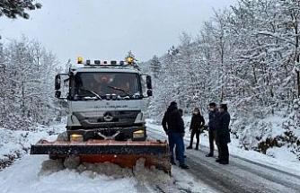 Yenice'de buzlanan yolda tır şarampole devrildi