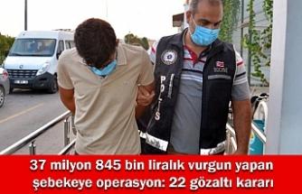 37 milyon 845 bin liralık vurgun yapan şebekeye operasyon: 22 gözaltı kararı