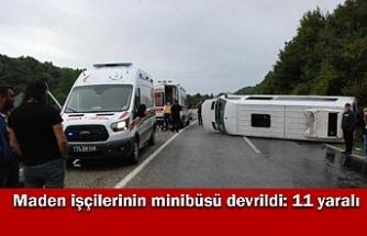 Bartın'da maden işçilerinin minibüsü devrildi: 11 yaralı