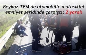 Beykoz TEM'de otomobille motosiklet emniyet şeridinde çarpıştı; 2 yaralı