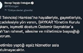 Cumurbaşkanı Erdoğan'dan, Özdemir Bayraktar için başsağlığı mesajı
