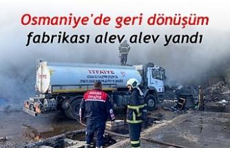 Osmaniye'de geri dönüşüm fabrikası alev alev yandı