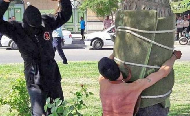 10 yıl sonra cezası uygulandı... İran'da sokak ortasında kırbaç cezası