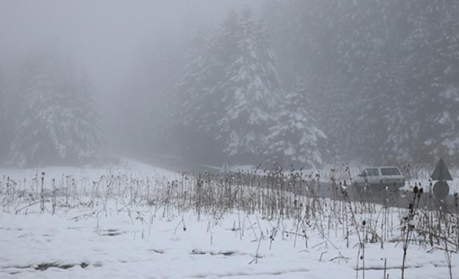 Bolu'da yüksek kesimlerde kar