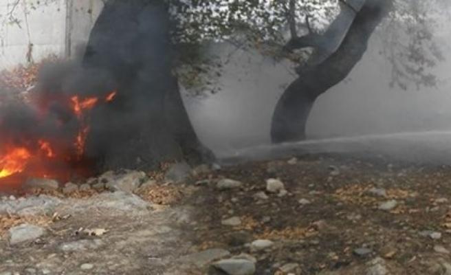 Bursa'da metro istasyonu yanında korkutan yangın