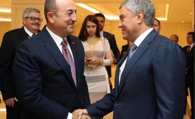 Çavuşoğlu, Rusya Duması Başkanı ile görüştü