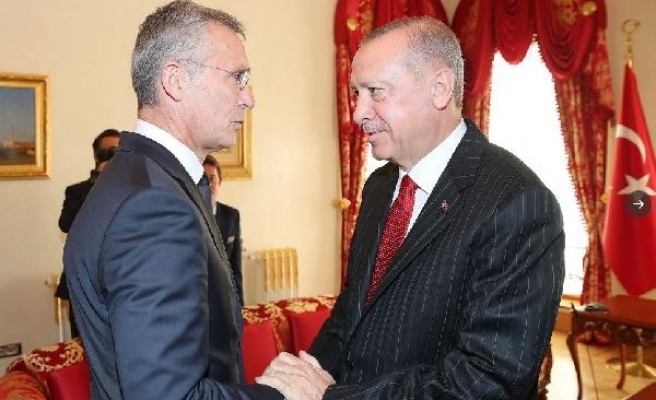 Fotoğraflar// Cumhurbaşkanı Erdoğan, Stoltenberg'i kabul ediyor