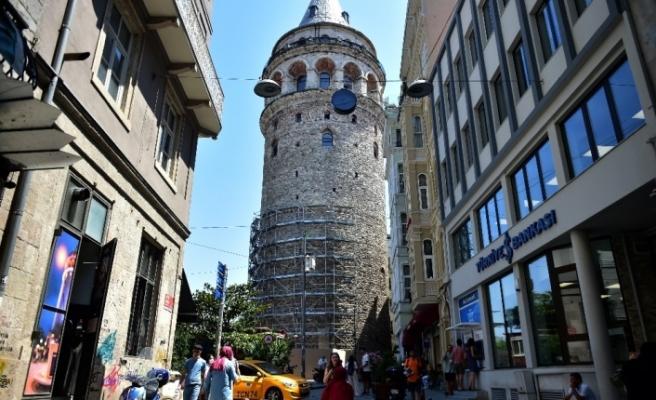 Galata Kulesi'ndeki restorasyon çalışması havadan görüntülendi