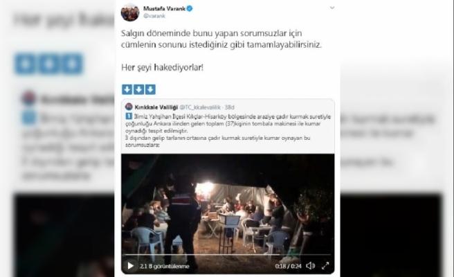 Kırıkkale'de çadır kurup kumar oynayan 37 kişiye para cezası