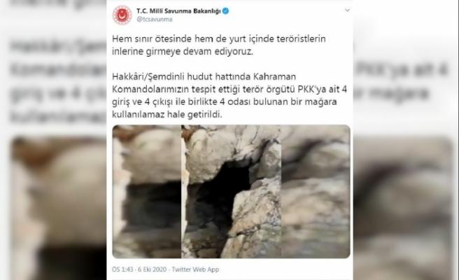 MSB: Hakkari'de PKK'ya ait mağara kullanılmaz hale getirildi