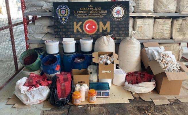 Adana'da nargile tütünü imalathanesine baskın