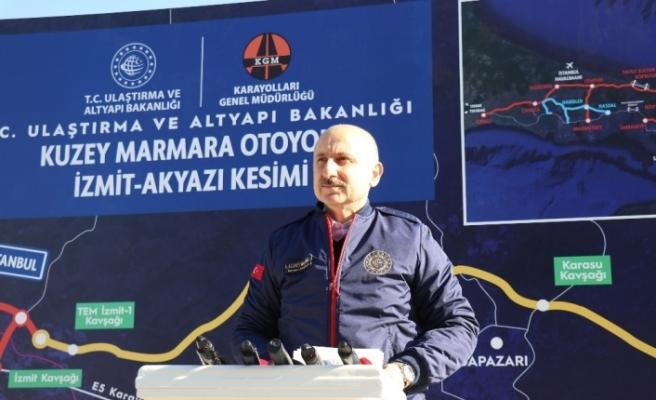 """Bakan Karaismailoğlu: """"321 kilometresi tamamlanan Kuzey Marmara otoyolu tamamen akıllı bir otoyol olarak dizayn edildi"""""""