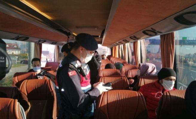 Kuzey Marmara Otoyolu'nda şehirlerarası otobüslere covid denetimi