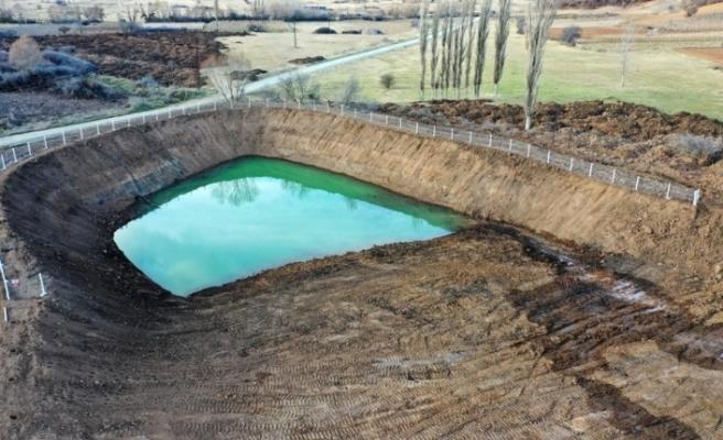 """Bilecik'e yapılan """"Hayvan İçme Suyu Gölet"""" projesi havadan görüntülendi"""