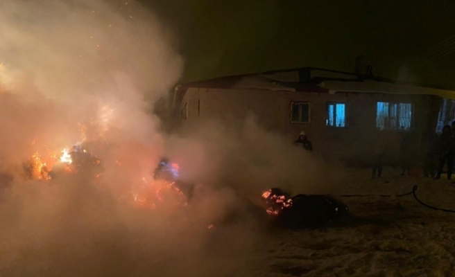 Tekman'da ot yangını