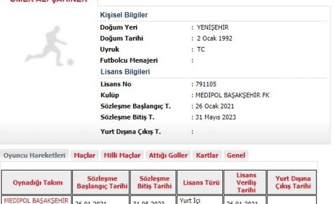 Medipol Başakşehir, yeni transferi Ömer Ali Şahiner'in lisansını çıkardı. Başarılı futbolcu, görev verilmesi halinde bu akşam Trabzonspor'a karşı forma giyebilecek.