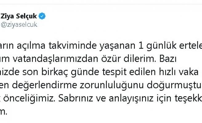 """Bakan Ziya Selçuk: """"Okulların açılma takviminde yaşanan 1 günlük erteleme için tüm vatandaşlarımızdan özür dilerim"""""""