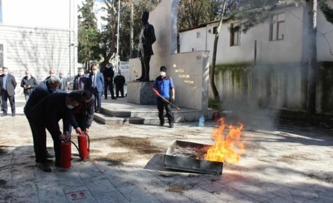 Osmaneli'de yangın söndürme tatbikatı