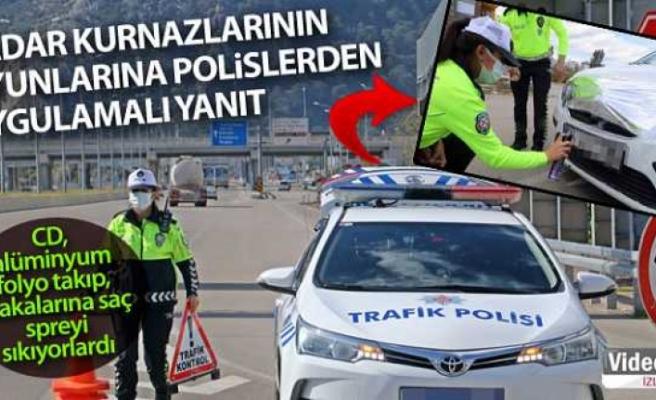 Radar kurnazlarının oyunlarına trafik polislerden uygulamalı yanıt