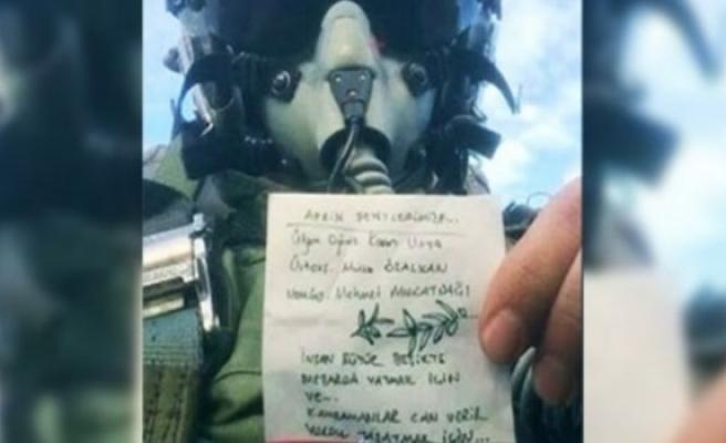 F16 pilotunun 'Zeytin Dalı' mesajı duygulandırdı