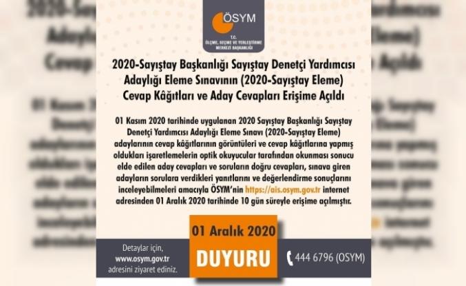 """ÖSYM: """"2020-Sayıştay Başkanlığı Sayıştay Denetçi Yardımcısı Adaylığı Eleme Sınavının (2020-Sayıştay Eleme) cevap kağıtları ve aday cevapları erişime açıldı."""""""