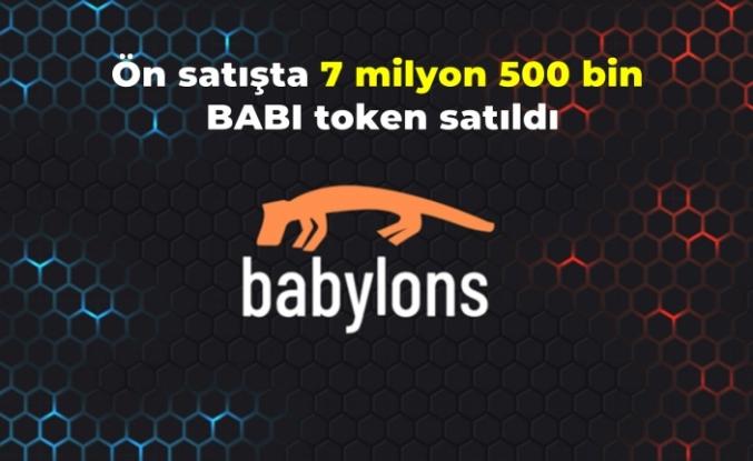 Ön satışta 7 milyon 500 bin BABI token satıldı