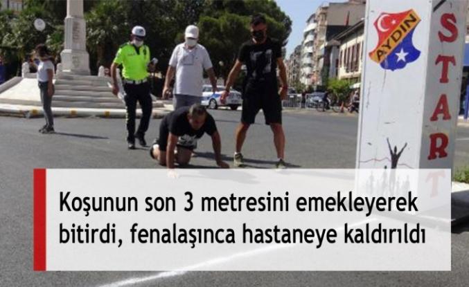 Koşunun son 3 metresini emekleyerek bitirdi, fenalaşınca hastaneye kaldırıldı