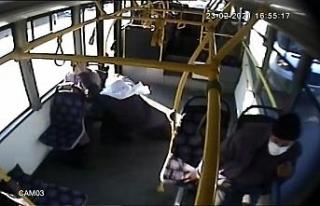 (Özel) Ani firen yapan otobüste savrulup yere düşen...