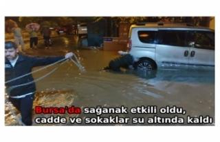 Bursa'da sağanak etkili oldu, cadde ve sokaklar...