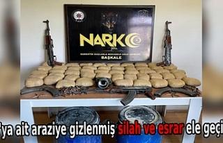 PKK'ya ait araziye gizlenmiş silah ve esrar...