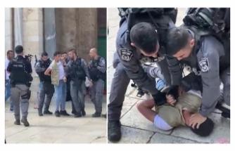 İsrail güçleri ile fanatik Yahudilerden Mescid-i Aksa'ya baskın