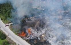 Bursa Mudanya'da yangının olduğu bölgedeki evler tahliye diliyor