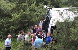 Bursa'da korkunç kaza... Otobüs devrildi......