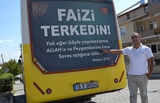 Bursa'da halk otobüsünde faiz reklamı